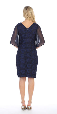 Sheer Flutter Sleeves Wedding Guest Dress Navy Blue
