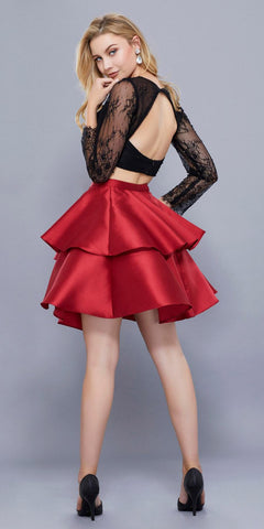 Black Top Red Skirt Two-Piece Homecoming Dress Long Sleeves