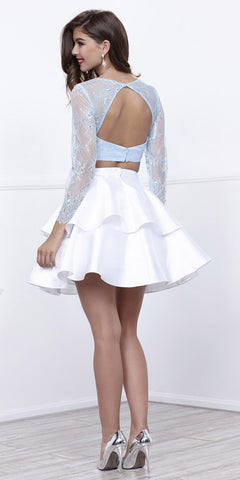 Ice Blue Top White Skirt Two-Piece Homecoming Dress Long Sleeves