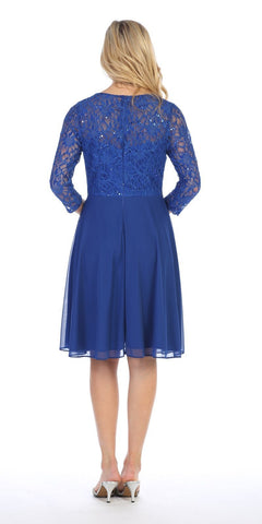 Celavie 6305 Royal Blue Quarter Sleeves Lace Knee-Length Wedding Guest Dress Back View