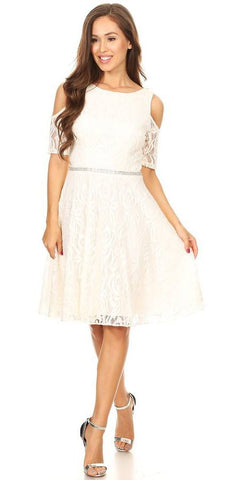 Ivory Lace A-Line Wedding Guest Dress Cold Shoulder Short Sleeves
