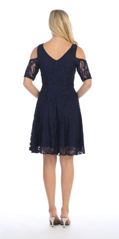 Celavie 6307 Navy Blue Lace A-Line Wedding Guest Dress Cold Shoulder Short Sleeves Back View