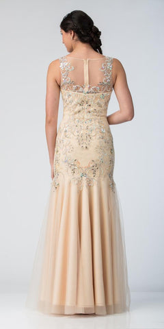 Starbox USA 6318 Illusion Fit and Flare Embellished Evening Gown Champagne