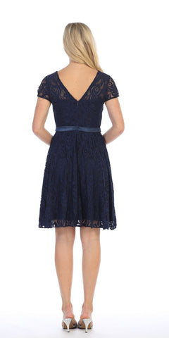 Celavie 6322 - Short Sleeve Lace Knee Length Dress Navy Blue Back View