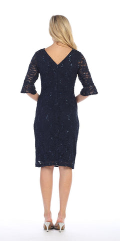 Short Wedding Guest Dress with Three-Quarter Sleeves Navy Blue
