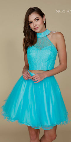 Turquoise Halter High Neckline Lace Crop Top Two-Piece Short Prom Dress