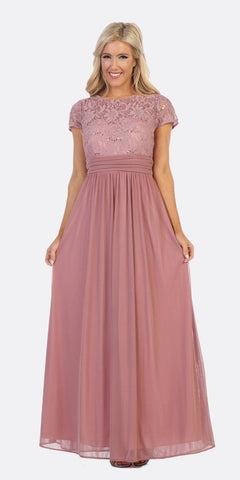 Mauve Long Formal Dress Lace Bodice Short Sleeves