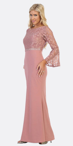 Celavie 6374 Mauve Beaded Waist Long Formal Dress with Long Bell Sleeves