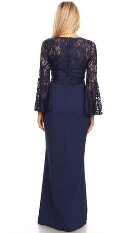 Navy Blue Beaded Waist Long Formal Dress with Long Bell Sleeves