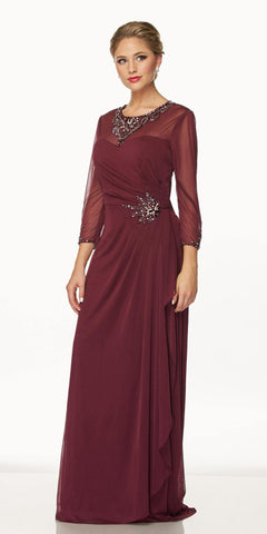 Juliet 638 Long Sleeve Formal Dress Embellished Illusion Neckline Plum