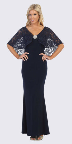 Navy Blue Long Formal Dress with Lace Poncho