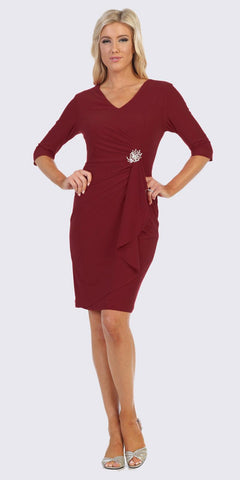 Quarter Sleeved Short Formal Dress with Brooch Burgundy