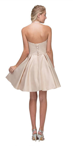 Champagne Strapless Homecoming Short Dress with Pockets