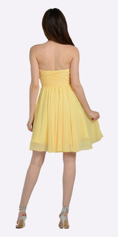 Strapless Chiffon Short Yellow Bridesmaid Dress Knee Length Back View