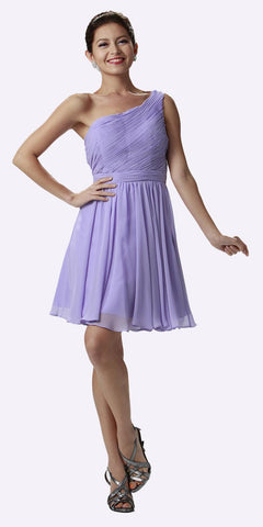 One Shoulder Chiffon Short Lilac Bridesmaid Dress Ruched Bodice