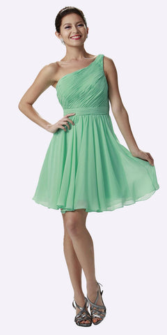 One Shoulder Chiffon Short Mint Bridesmaid Dress Ruched Bodice