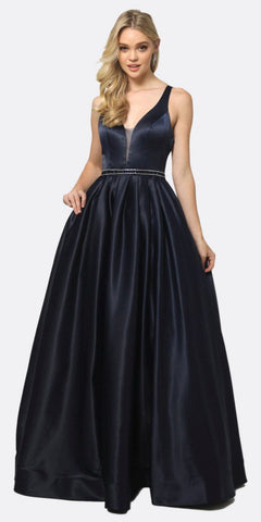 Juliet 690 A-Line Glitter Satin Deep V Neck Prom Gown Navy Blue Floor Length
