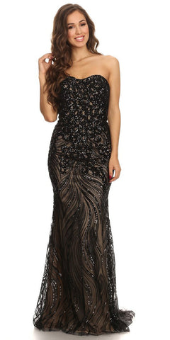 Strapless Sequins Fit and Flare Black Floor Length Prom Dress