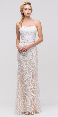Strapless Sequins Fit and Flare Ivory Floor Length Prom Dress