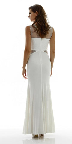 Poly USA 7008 Long Sleeveless Fitted Ivory Party Dress ITY Mesh Stone Back View