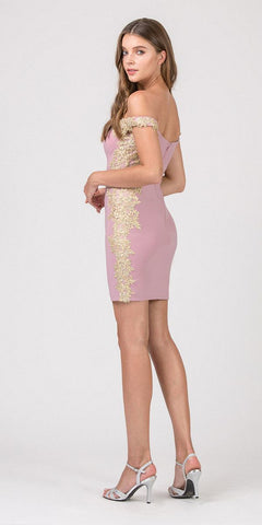 Sweetheart Neck Dusty Rose/Gold Off-Shoulder Short Party Dress