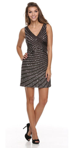 V Neckline Sleeveless Sequin Studded Charcoal Club Cocktail Dress