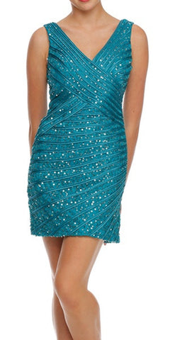 V Neckline Sleeveless Sequin Studded Teal Club Cocktail Dress