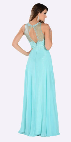 Poly USA 7454 Poly USA 7454 Long Flowy Prom Gown Aqua Empire Sheer Bodice Back View