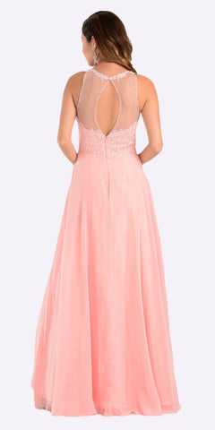 Poly USA 7454 Poly USA 7454 Long Flowy Prom Gown Blush Empire Sheer Bodice Back View