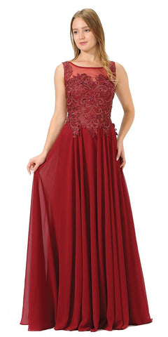 Poly USA 7644 Appliqued Illusion Bodice Burgundy Long Formal Dress Sleeveless