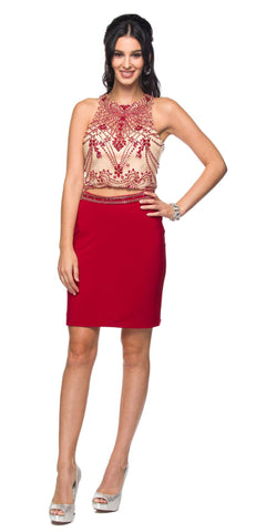 Juliet 766 Deep Red Fitted Two-Piece Short Cocktail Dress Cut-Out Back