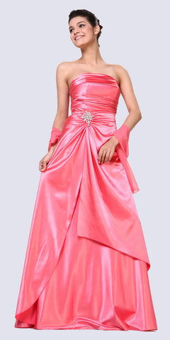 Cinderella Divine 7700 Long Strapless Coral Formal Dress Satin Rhinestone Pleated Bodice