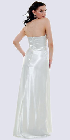 Long Strapless Ivory Formal Dress Satin Rhinestone Pleated Bodice