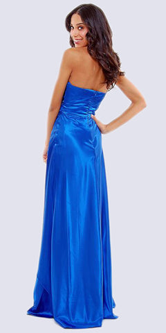 Long Strapless Royal Blue Formal Dress Satin Rhinestone Pleated Bodice