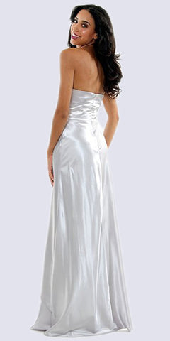 Long Strapless Silver Formal Dress Satin Rhinestone Pleated Bodice