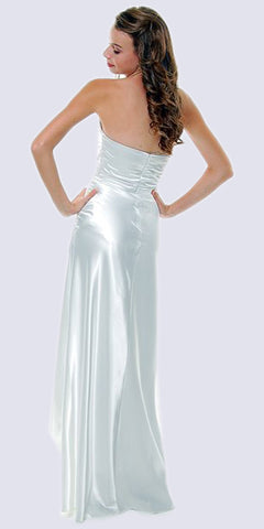 Long Strapless White Formal Dress Satin Rhinestone Pleated Bodice