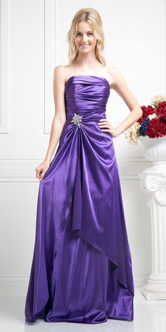 Cinderella Divine 7700 Long Strapless Purple Formal Dress Satin Rhinestone Pleated Bodice
