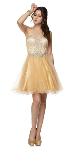 Juliet 778 Gold Sweetheart Neckline Corset Back Homecoming Dress