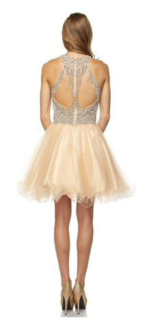 Juliet 780 Halter Beaded Bodice Cut Out Back Homecoming Dress Gold
