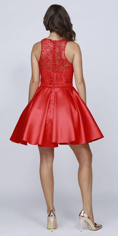 Juliet 782 Corded Lace Top Sleeveless Short Homecoming Dress Red