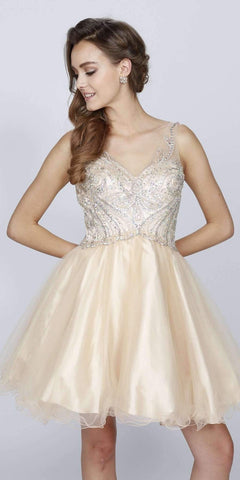 Juliet 784 V-Neck Short Homecoming Dress Embellished Bodice Champagne
