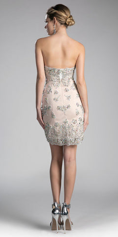 Nude Strapless Beaded Bodycon Short Prom Dress