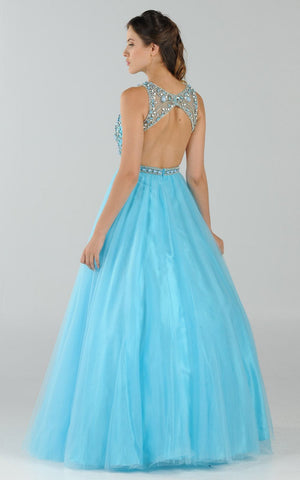 Poly USA 7940 Cut-Out Back Beaded Illusion Bodice Mesh Ball Gown Sleeveless Blue Back View