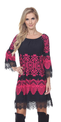 White Mark 803-01 Shift Dress Empire Waist Lace Hem Fuchsia