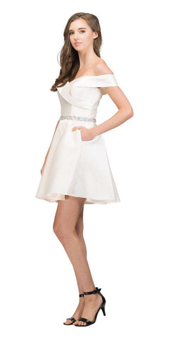 Off-Shoulder Homecoming Short Dress with Pockets Champagne