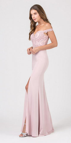 Eureka Fashion 8133 Blush Off-Shoulder Mermaid Long Prom Dress with Slit