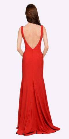 Poly USA 8168 Red Long Formal Dress with Sheer Side Cut-Outs and Slit