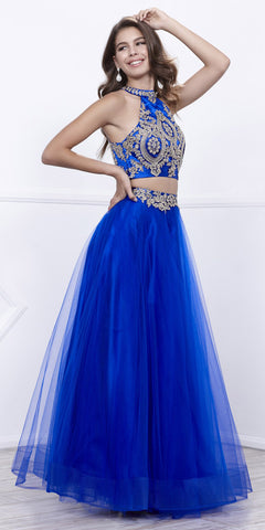 Royal Blue Embellished Halter Two-Piece Prom Dress Long