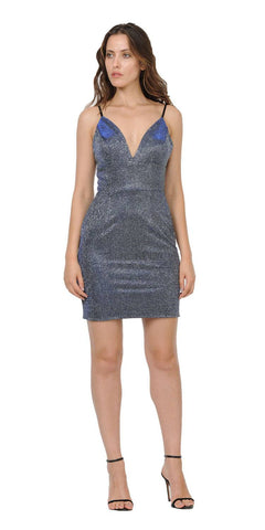 V-Neck Short Party Dress with Spaghetti Strap Royal Blue