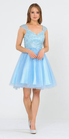 V-Neck Embroidered Baby Blue Homecoming Short Dress